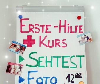 Erste-Hilfe-Kurs, Sehtest, Fototermin