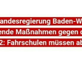 Update - Fahrschule vorübergehend geschlossen