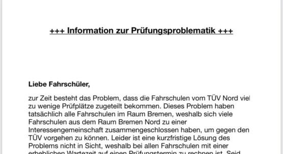 Information zur Prüfungsproblematik